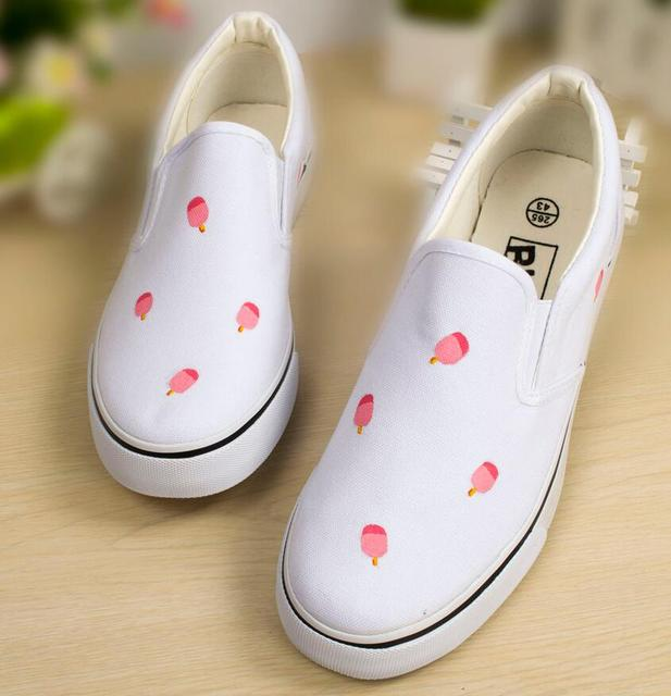 2016 New Graffiti breathable women's shoes Hand-painted Shoes Flats Canvas shoes Leisure lady shoes