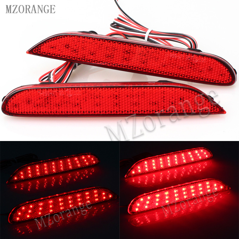 MZORANGE 2 Pcs LED Rear Bumper Reflectors Lights lamp For Nissan Leaf Pathfinder Rogue X-Trail x trail JX35 QX56 qashqai 2014- 0 5 5w led reflectors silver 40 x 16 x 13mm 5 pack