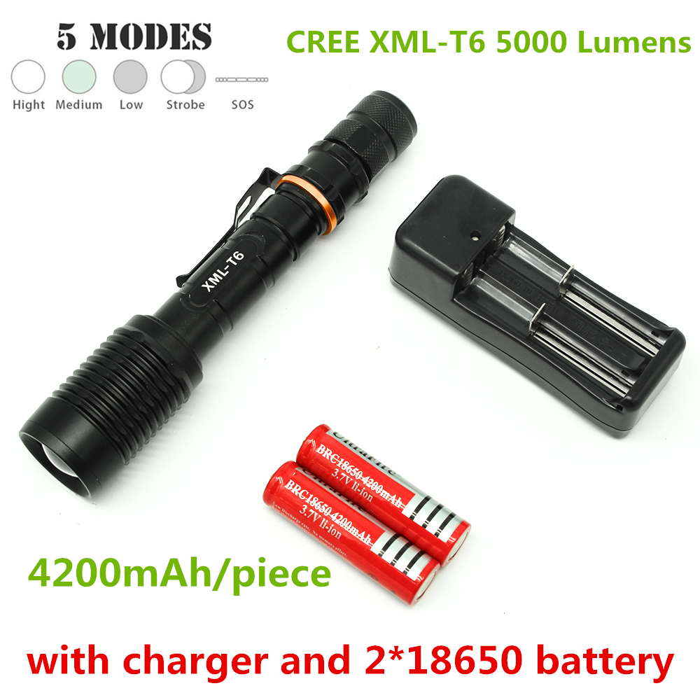 5 mode zoomable 5000 lumen led flashlight cree xml T6 tactical torch flashlight with clamp + 2 x 18650 battery + 1 * charger crazyfire led flashlight 3t6 3800lm cree xml t6 hunting torch 5 mode 2 18650 4200mah rechargeable battery dual battery charger