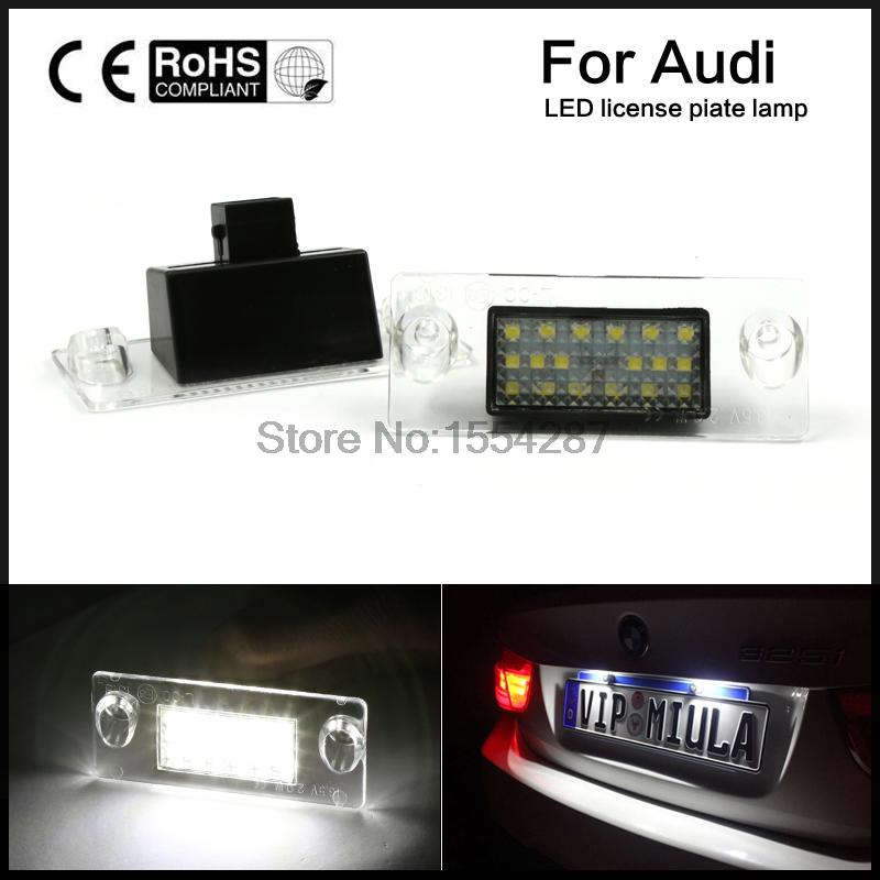 2x Error Free LED SMD Number License Plate Lights For Audi A4 S4 B5 98-01 White