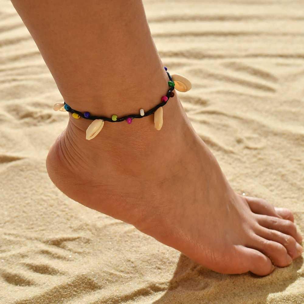 MESTILO 2019 Yaz Plaj Takı Altın Gümüş Zincirler Kabuk Kabuklu Boncuk Zincirler Halhal Bilezikler Kızlar Için Dalga Mermaid Halhal
