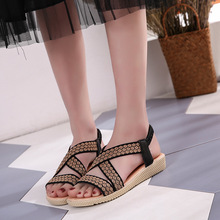2019 summer new women's Sandals Leisure flat Fish mouth  Female Fashion Rome Slip-On Breathable Non-slip Shoes