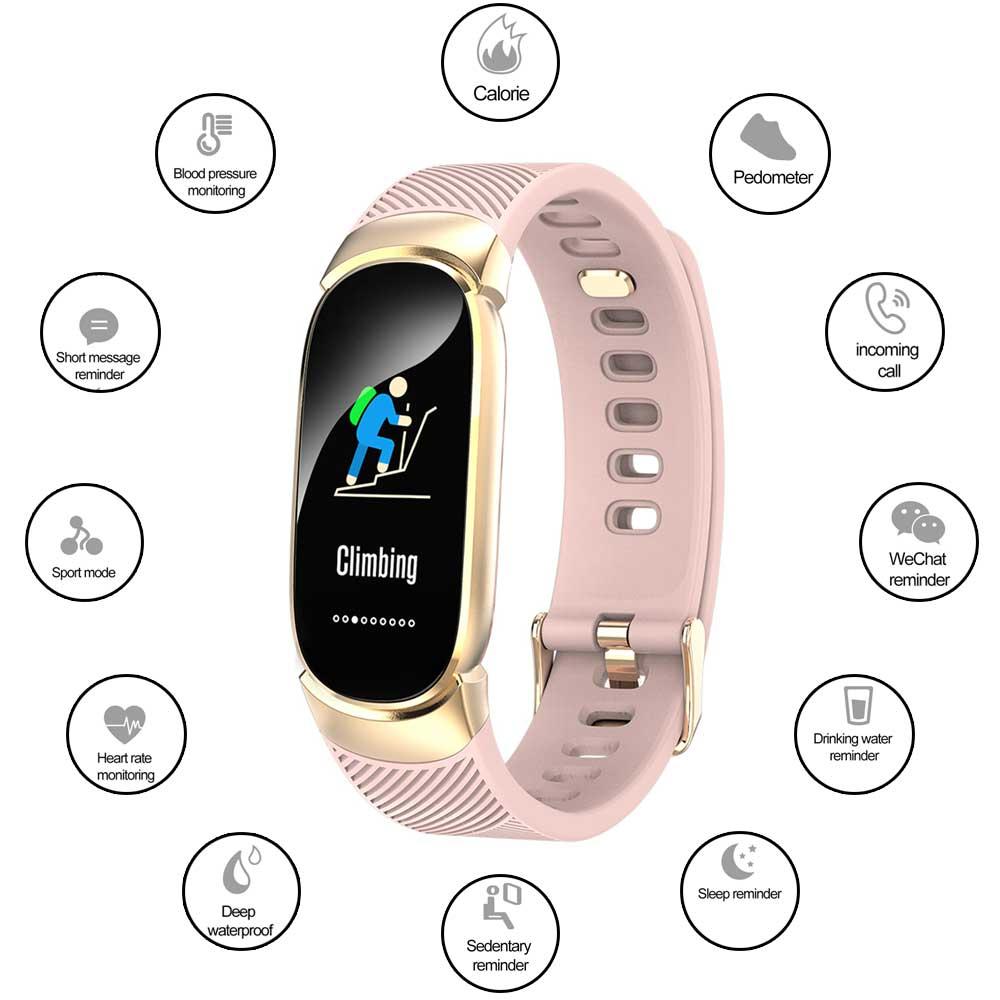 Qw16 Smart Watch Adult Heart Rate Monitor Sleep Tracker Drinking Reminder Fitness Sport Bracelet IP67 Waterproof