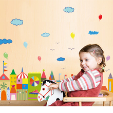 SK7069 Cartoon House Baseboard Color Castle Wall Stickers ChildrenS Room Kindergarten Decoration