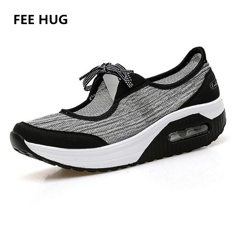 FEE HUG Spring Summer Women Flat Platform Shoes Woman Casual Air Mesh Breathable Print Shoes Lace Up Lost Weight Fabric Shoes keloch new men casual shoes fly weave mesh breathable lace up air cushion sport basket flat shoes lovers trainers zapatos mujer