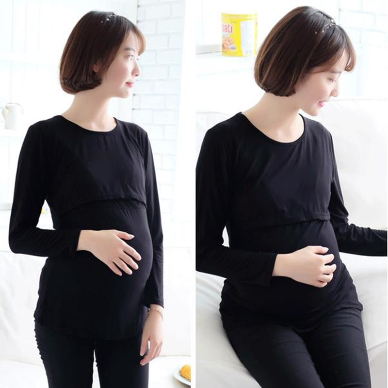 2017 Hot Sale T-Shirts For Pregnant Large Size Long-sleeve Maternity Tee Shirt Pregnancy Clothes Maternity Clothing B0210