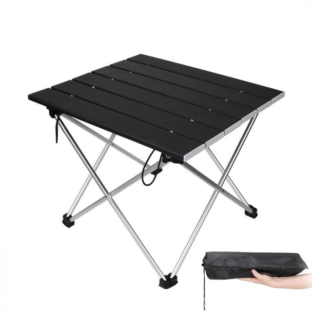 أثاث حديقة خارجي أسود مربع طاولات قابلة للطي مع الحقيبة التخييم في الهواء الطلق الجداول للتخييم ، المشي ، نزهة ، الصيد ، شواء