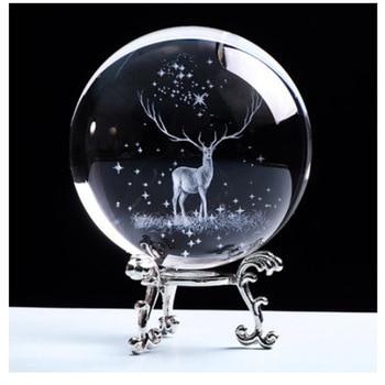 60/80 มม.Elk คริสตัลลูกโลก 3D ภายในแกะสลัก Moose แก้วควอตซ์ Ball กวางรุ่น Sphere Glass Globe home Decor