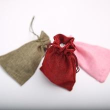 (13x18cm) 100PCS Linen Jute Drawstring Bags Gift Package Bags Natural Burlap Bags Candy Jewelry Wedding Reusable Drawstring