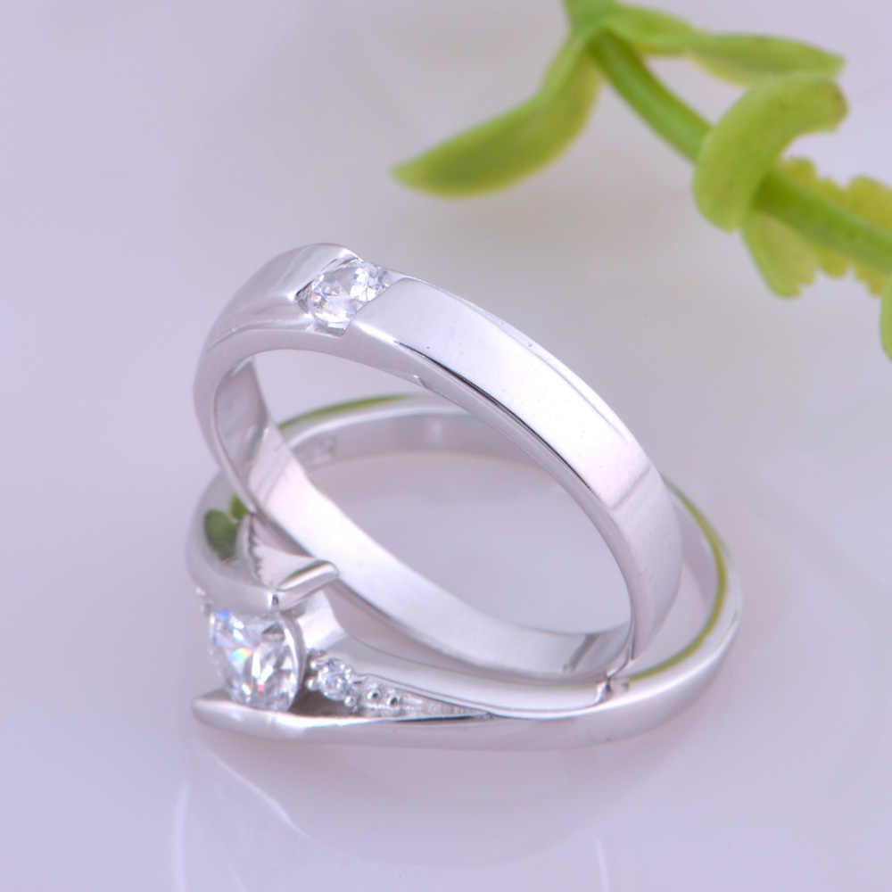 2016 זוג חדש טבעות תכשיטי טבעות רומנטיות עם CZ מצופה זהב טבעות נישואים מאהב נחמד יפה J059