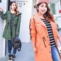 В долгосрочной разделе ветровка женская новый удобрений плюс XL Женская свободные с капюшоном с длинным рукавом шнурок куртки