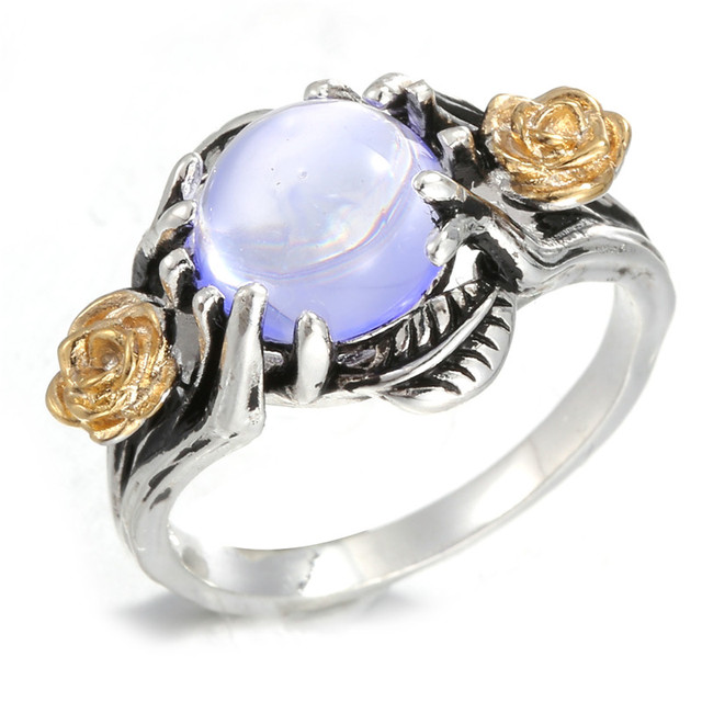AMORUI Vintage Ancient Silver Color Flower Leaf Tree Moonstone Rings for Women W