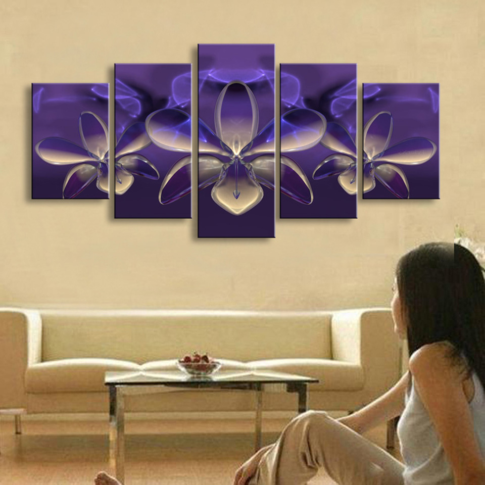 Modern Canvas Painting Frame Pictures 5 Panel Mysterious