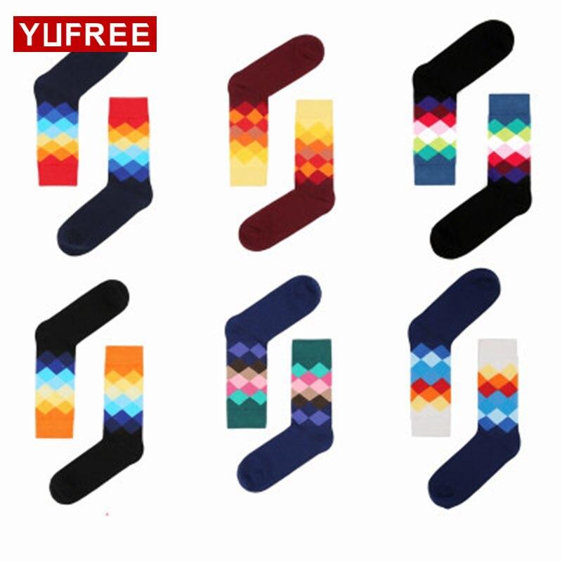 Yufree 2017 Men Socks Pure Cotton Plaid Socks Men Hot Sale Pathcowrk Multicolor Man Socks Fashion Hapy Socks For Men