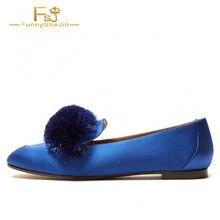 0f3d41b29 Sapatos mulheres festa Azul Royal Do Dedo Do Pé Quadrado apartamentos  casuais deslizar sobre mocassins Sapatos Confortáveis Preg.