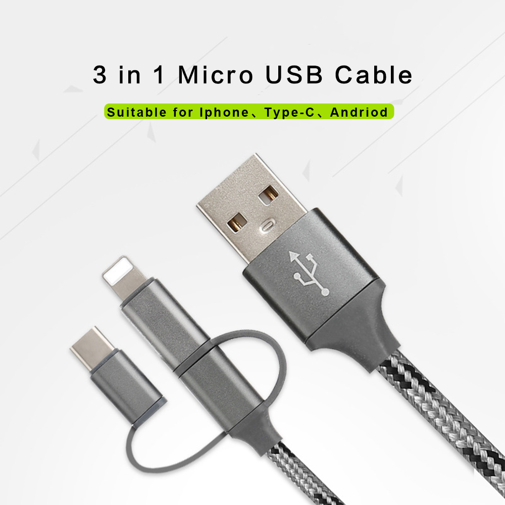 THU 3 In 1 USB Data Cable For IPhone Micro USB Type C Charger Cable For Xiaomi Huawei Samsung Charging Cable 100CM Nylon Braided