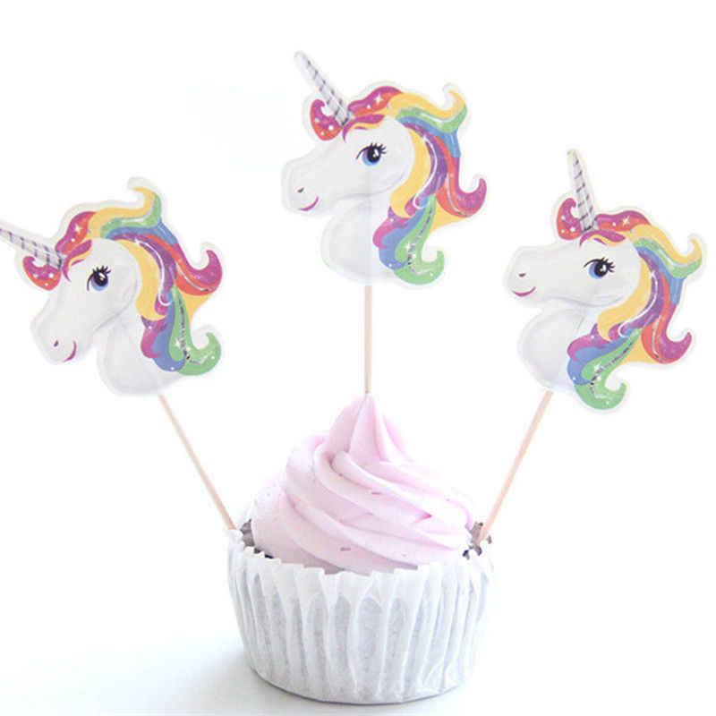 24 Pcs Unicórnio Unicórnio Inserção Bolo Festa de Despedida Do Partido Feliz Aniversário Fontes do Partido do Chuveiro Do Bebê DIY Unicorno Natal Deco