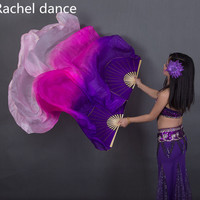 China Real 100 Silk Oriental Dancing Fan Veils Gradient Fire Many Colors Fan Belly Dancing Stage