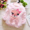 Fashion Autumn Warm Winter Baby Fleece Velvet Kids Girls Cute Fox Bow Sweater Thicken Outwear Pullover Tops Camisola S4119