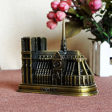Vintage Metal Cathedrale Notre Dame de Paris Model Building Figurine Home Office Decor Gift 2019