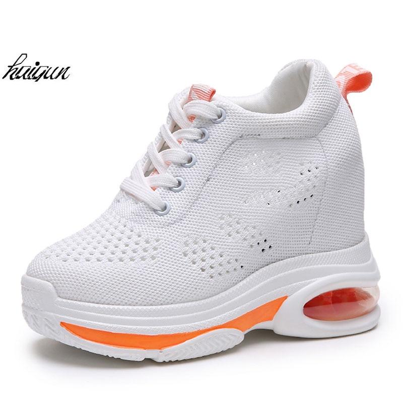 11 Deportivas Mujeres Mujer Casual Negro Nueva Transpirable Verano Zapatos  Plataforma Cuña Malla De Zapatillas blanco 2018 Altura Tacones Creciente Cm  ... bb329aeecabf