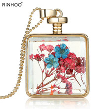 Crystal Photo frame glass locket pendant Dried flower pendant necklaces women Gold memory locket necklace 2018 wholesale(China)
