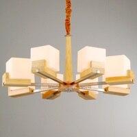 Modern Nordic Retro Wooden Chandelier Lighting Vintage Loft Antique wood Pendant Hanging Lamp Glass Home Lighting