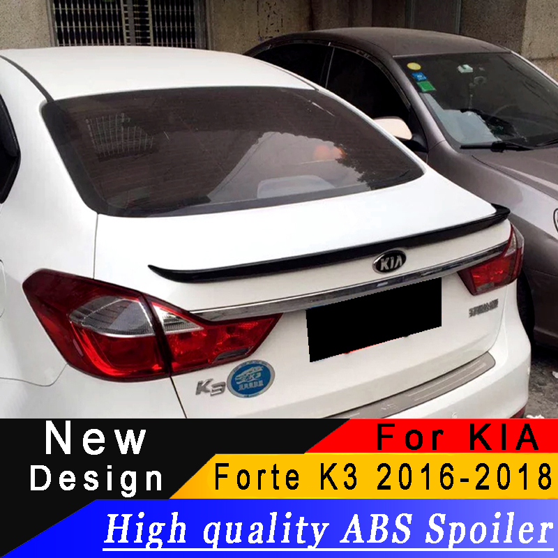 For Kia Forte K3 2016 2017 2018 spoiler High quality ABS rear wing primer or any color rear spoiler For KIA Forte K3|Spoilers & Wings| |  - title=