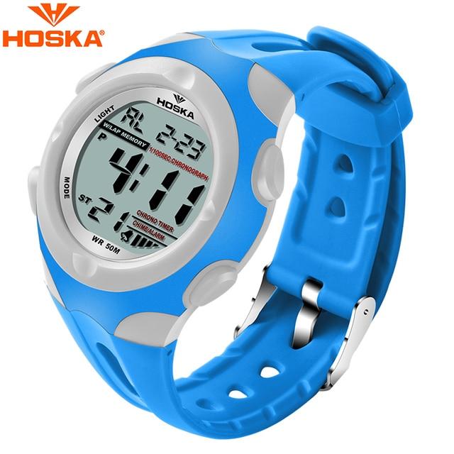 HOSKA Student Blue LED Digital Watch High Quality Children Waterproof Electronic Wrist Watches Boys Girls Multifunction Watches