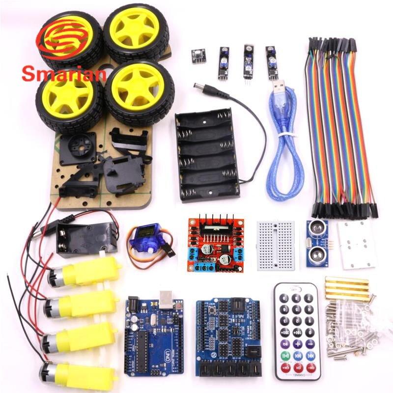 Offizielle smarian car kit für arduino uno r3 elektronische diy hindernis Vermeidung Linie Tracing Licht Sucht Robot Smart Car Kits Bl-in Teile & Zubehör aus Spielzeug und Hobbys bei  Gruppe 2