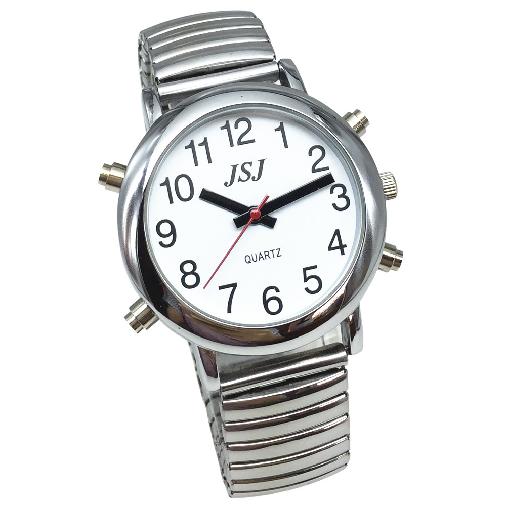 English Talking Watch With Alarm, White Dial, Silver Frame, Expansion Band