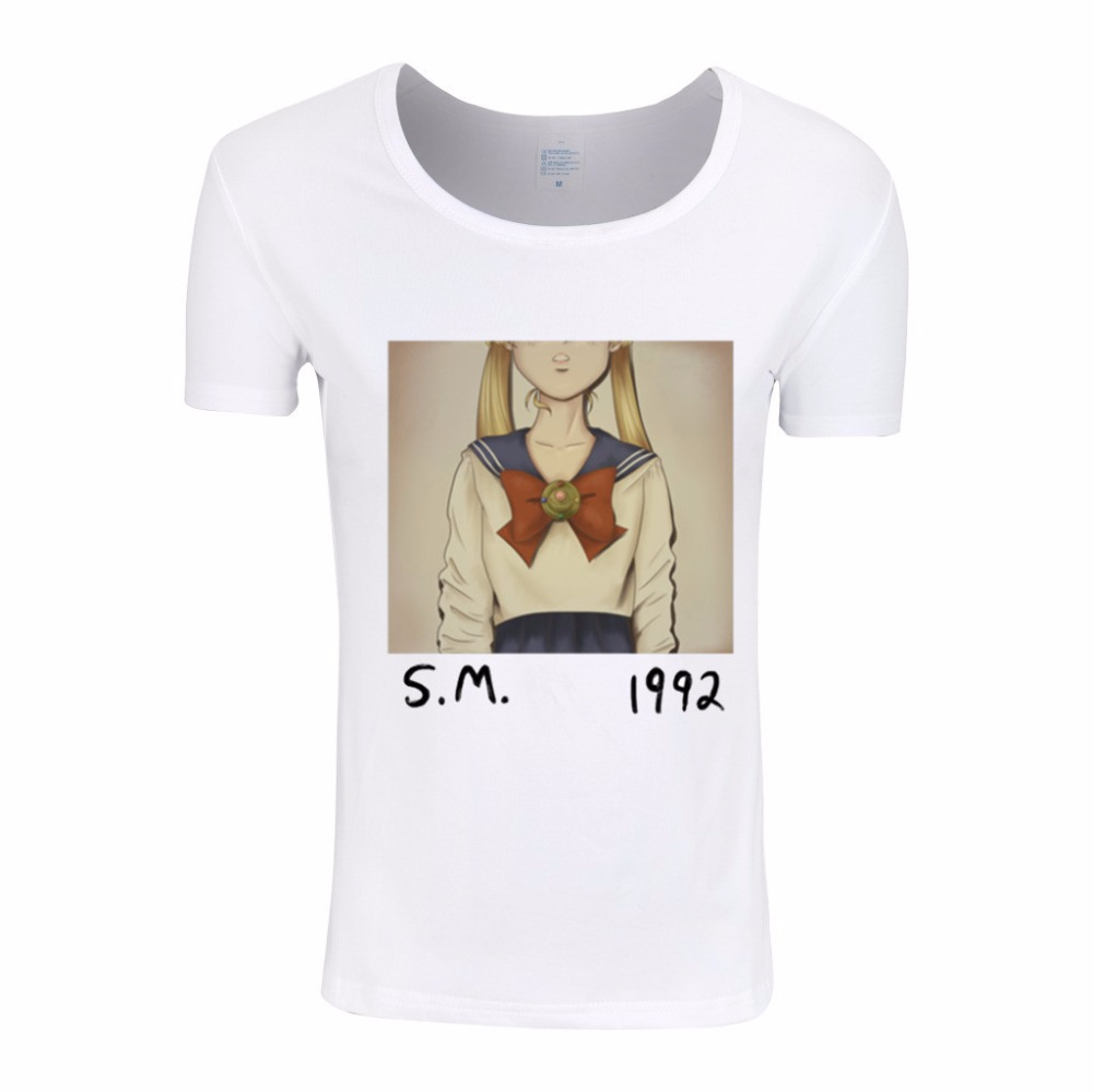 Asian Size,Summer Sailor Moon Printed Funny Women T-shirts White Short Sleeve Female Tee Tops Retro Style Cool Lady Tee,HWP024