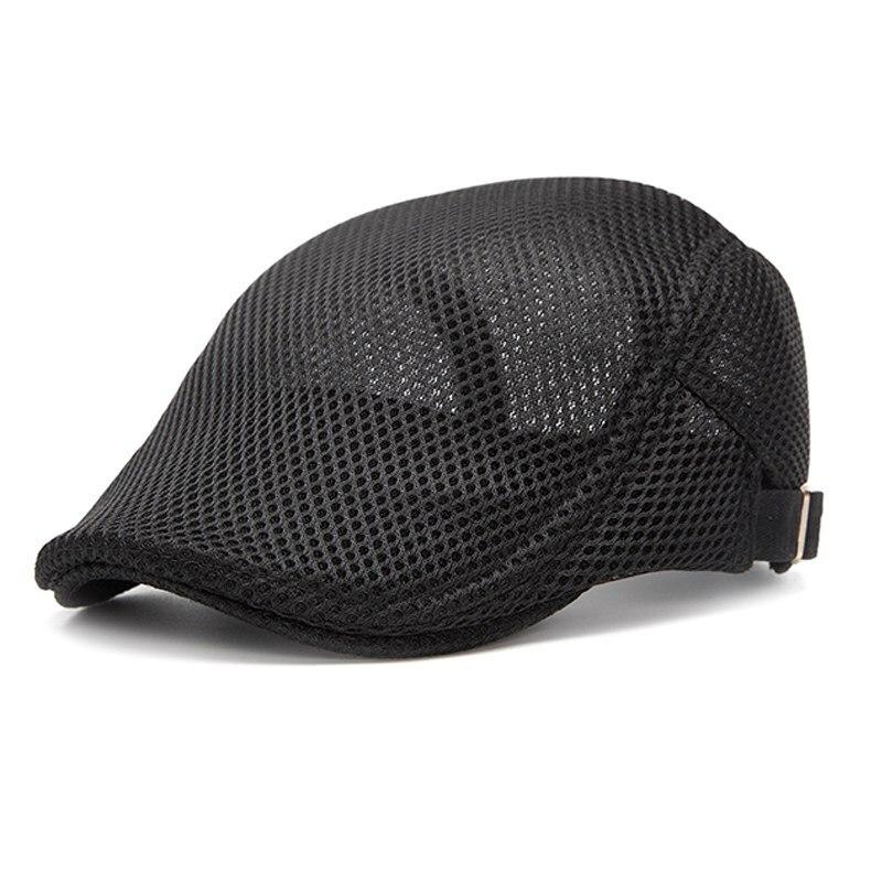 Summer Spring Mesh Men Women Beret Cap, Breathable Adjustable Peaked Visor Flat Hat Casual Driving Berets Golf Newsboy Cap