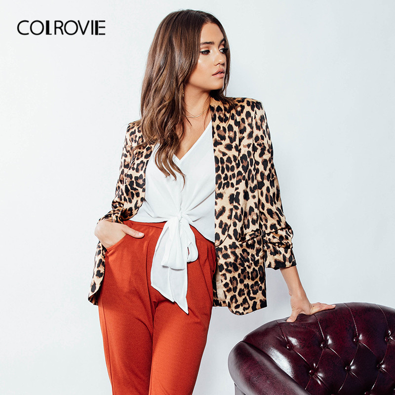 COLROVIE Shawl Collar Leopard Print Work Blazer Feminino 2018 Autumn Long Sleeve Office Coat Women Elegant Sexy Ladies Blazer