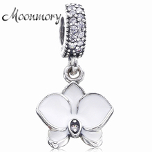 Moonmory 2017 Summer Style 925 Sterling Silver White Orchid Enamel Charms Pendant Dangle FitsSnake Bracelet DIY Jewelry Making
