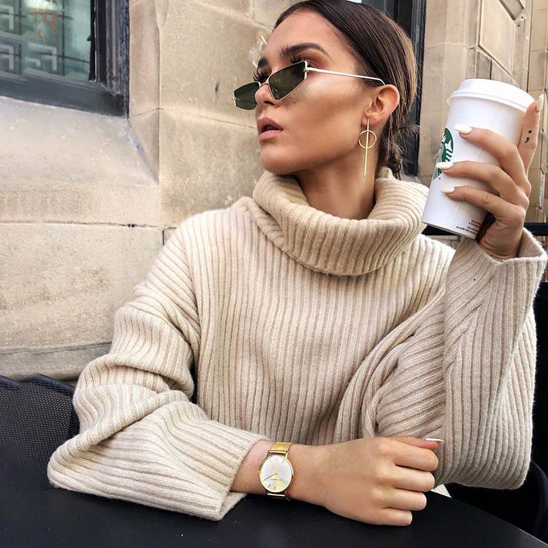 QUEVOON Autumn Winter 2019 Sweater For Women Solid Khaki Loose Knitted Turlteneck Sweaters Crochet Women's Pullover Fashion Knit