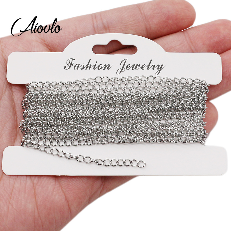 Aiovlo 5m/lot Stainless Steel Bracelet Extension Tail Chain Bulk Necklace Extender Width 2.5 3mm Chains For DIY Jewelry Making