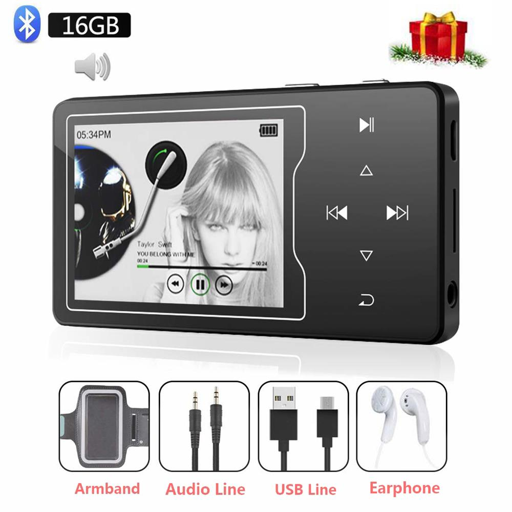 Lecteur MP4 Bluetooth 4.2 HiFi son 16GB lecteur de musique, 2.4 pouces grand écran TFT avec haut parleur intégré, prise en charge carte TF 128GB-in Lecteur MP4 from Electronique    1