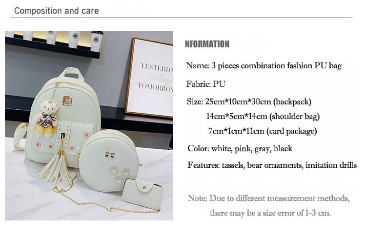 Backpack Female 3 Piece Combination Composite Bag Bear Hanging Inlaid Imitation Diamond Tassel Fashion Casual Shoulder Bag 48