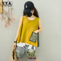 Summer Women Casual Baggy Denim Patchwork Tank Top Pocket Hole Ripped Streetwear Loose Fit T shirt Cotton Sleeveless Tees Tops
