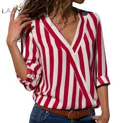 LAAMEI черный, красный в полоску Блузка Для женщин s Топы Блузки Мода Одежда с длинным рукавом Для женщин Blusas Mujer 2018 Новая осень V шеи блузка