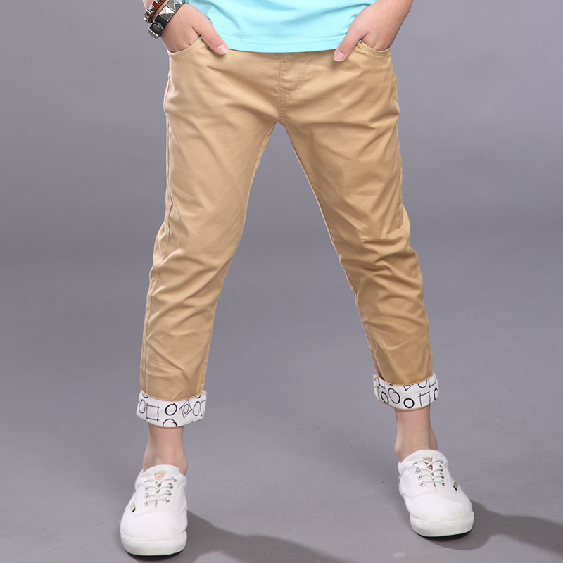 2016 summer boys pants clothing formal solid thin cotton big boy pants for boys kids casual