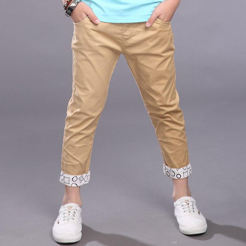 db316c0769 Roupas de verão 2018 das crianças calças meninos formais sólida de algodão  fino meninos calças para meninos crianças grandes magros casuais calças  compridas ...