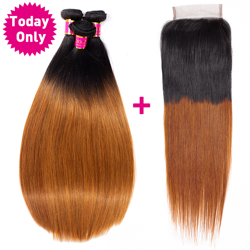 TODAY ONLY Brazilian Straight Hair Bundles With Closure Brazilian Hair Weave Bundles Remy Ombre Human Hair