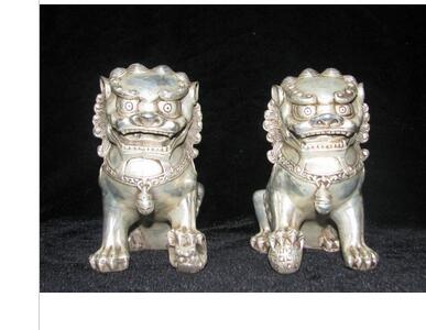 Chinois vieux Tibétain argent sculpté paire foo chien lion statue ...