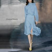 Women Skirt Sets Womens Outfits Bow Collar Long Sleeve Chiffon Blouse Woman Shirt + Mermaid Ruffle Skirt New 2 Piece Sets