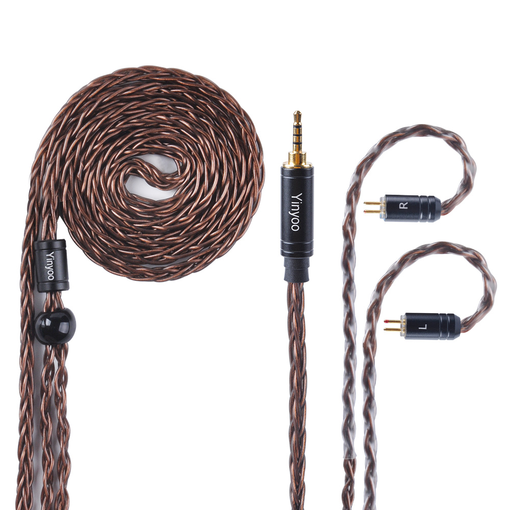 Yinyoo 8 Core Silver Plated Copper Balanced Cable 2.5/3.5/4.4mm With MMCX/2pin Connector For KZ ZS10 ZST ES4 ZS6/ED16
