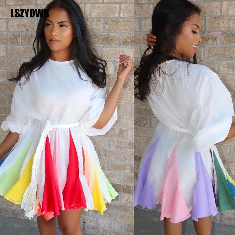 White Ruffle Party Dress Women Lantern Sleeve O-Neck Printed Casual Autumn Dress Summer Color Block Patchwork Loose Midi Dresses MINI