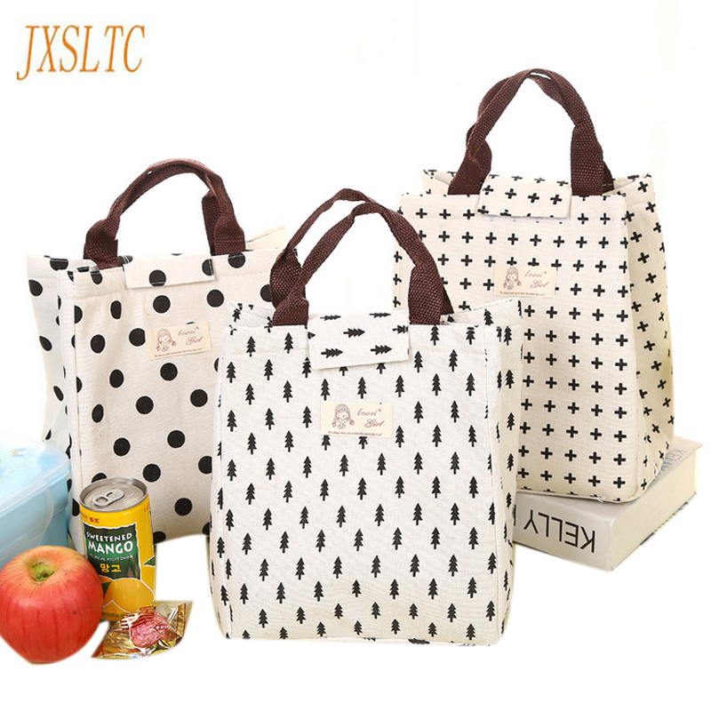 Portable Canvas Insulated lunch Bag Waterproof Picnic Women Storage a bag for food Thermal Food container Lunch Bags Women Kids