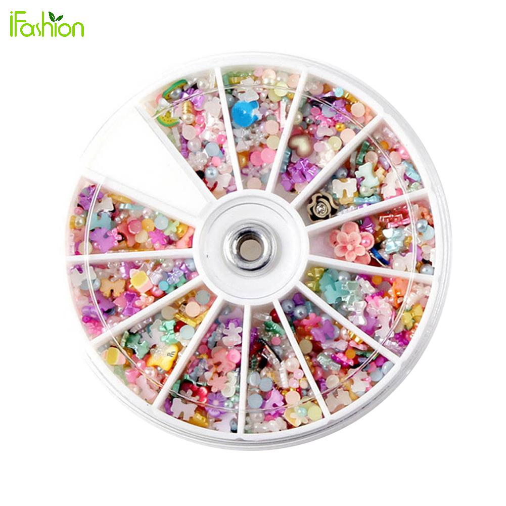 1200Pcs Wheel Mixed Nail Art Tips Glitters Rhinestone Nail Decoration DIY Pearl Polymer Clay Stamping Stickers Manicure 12 colors 3mm waterdrop rhinestone nail art salon stickers tips diy decorations with wheel chic design 5gpn